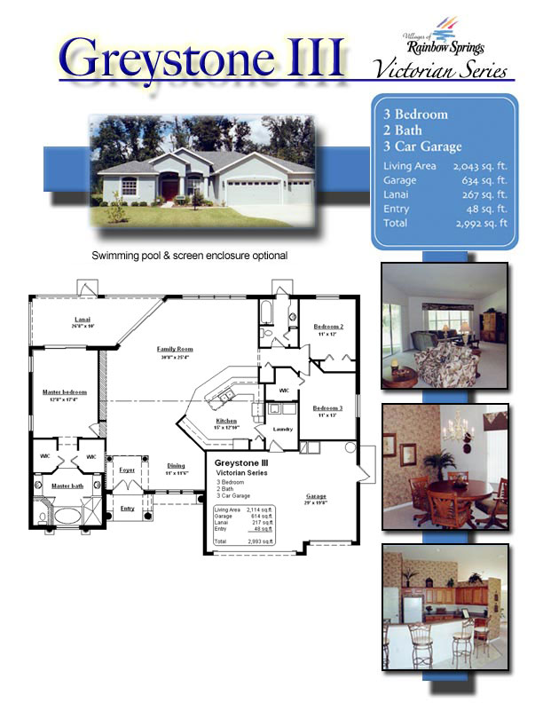 The graystone 3 floor plans and new home photos of model for Floor plans villages florida